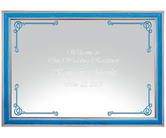 【オリジナルメッセージ・名入れ】ミラーウェルカムボード A3ライトブルー 結婚式、2次会、内祝い、出産祝い、新築祝いに♪【オリジナルギフト】【ミラー】【壁掛け・置き】【インテリア雑貨】【入学祝い・就職祝い】