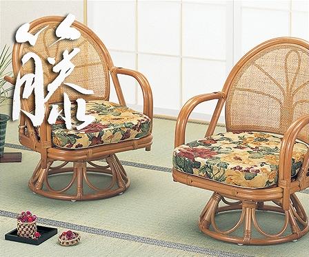 【送料無料】回転座椅子 ハイタイプ2脚組【ラタン/籐】【敬老の日】【smtb-k】【w3】