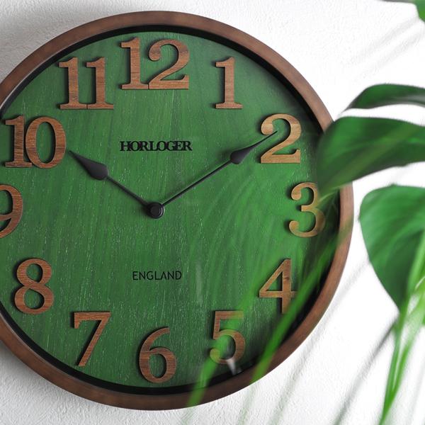 [壁掛け時計 電波時計] ENGLAND[お洒落 カッコイイ オシャレ レトロ 木目 グリーン 緑色 おしゃれ カッコいい 高級感 重厚 レトロ アンティーク風 送料無料 木製 掛け時計 ウォールクロック 柱時計 カフェインテリア 北欧 上品 上質 優雅 ノスタルジック 柱時計 丸 かわいい]