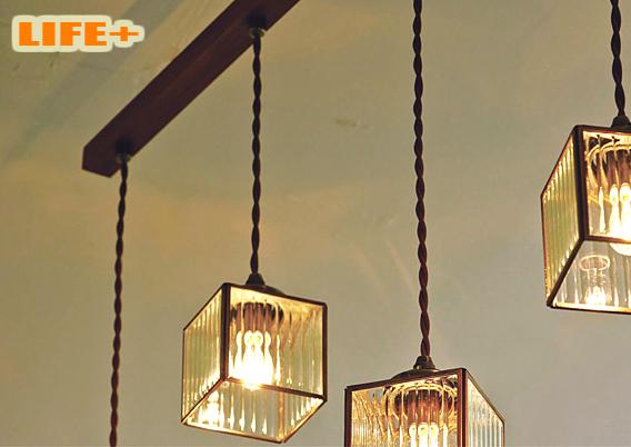 【送料無料】 アンティーク4連ペンダントライト -Kostka dangle4- 白熱灯タイプ 【ペンダントランプ|シーリングライト|4連|おしゃれ|照明|天井|レトロ|240W】