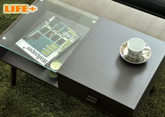 送料無料 カフェテーブル 最新アイテム REGINA ブラウン 茶系 ミッドセンチュリー コンパクト 小さめ 机 センターテーブル 中棚収納 ディスプレイ お買い得 お洒落 リビングテーブル おすすめ ガラス 直営限定アウトレット かっこいい 引出し 木製
