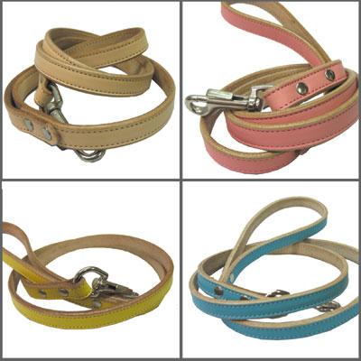 小型~中型犬用本革で作った商品です ピンク イエロー 通販 ブルー ベージュから選べます 革 リード パステル 犬 正規品 Sサイズ