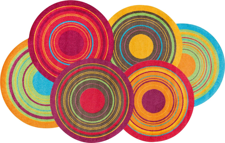 ラグマット 洗える カーペット 玄関・リビングフロア・キッチン Cosmic Colours 110×175cm (K023I)