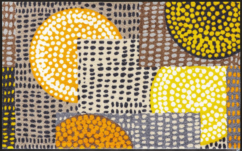 ラグマット 洗える カーペット 玄関・リビングフロア・キッチン Ethno Pop orange 75×120cm (C023B)