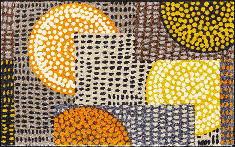 ラグマット 洗える カーペット 玄関・リビングフロア・キッチン Ethno Pop orange 110×175cm (C023I)