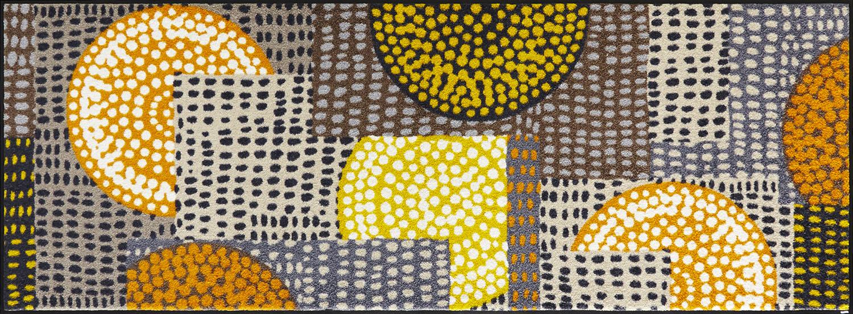 ラグマット 洗える カーペット 玄関・リビングフロア・キッチン Ethno Pop orange 70×190cm (C023G)