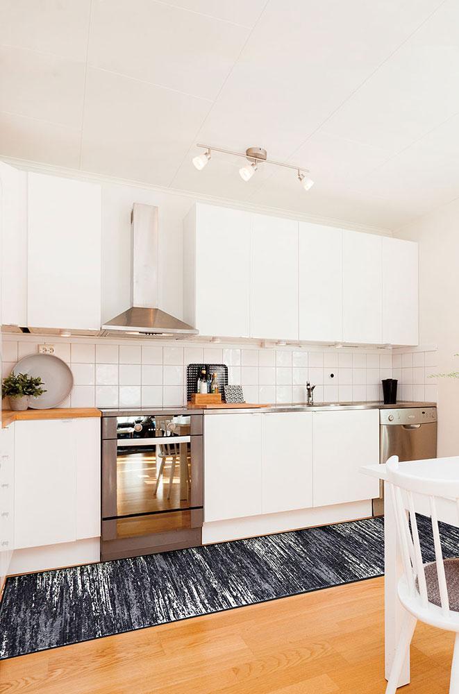 ラグマット 洗える カーペット 玄関・リビングフロア・キッチン Scratchy grey 60×260cm (D023F)