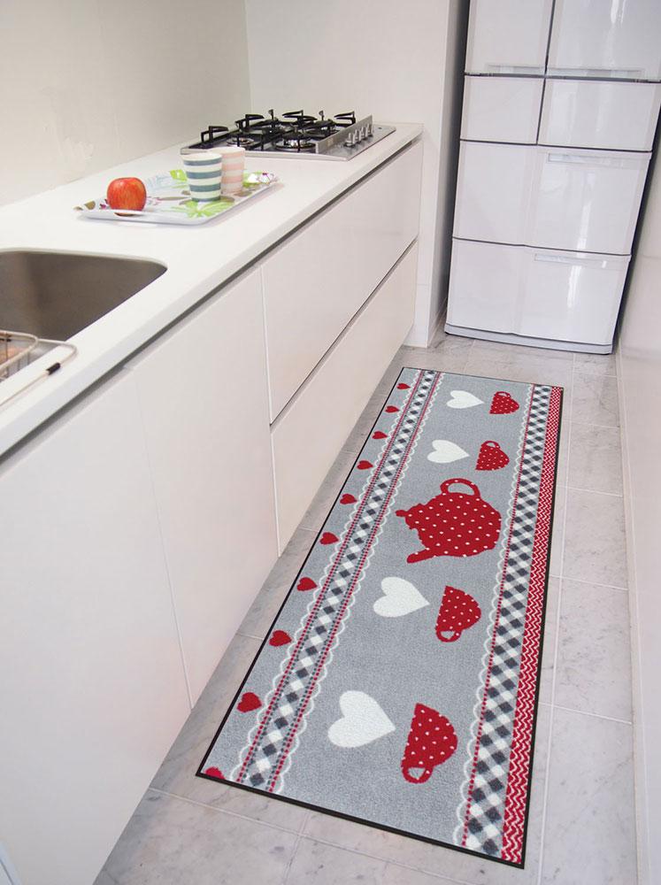ラグマット 洗える カーペット 玄関・リビングフロア・キッチン Tea Time 60×180cm (B013C)