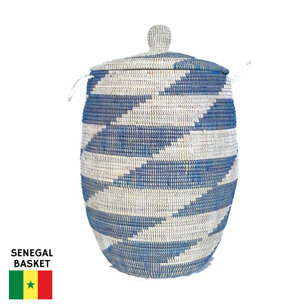 セネガルバスケット蓋付き 特大 ボーダー 青×白 カゴバスケット リビング シーグラス 収納 インテリア 収納用品 入れ物