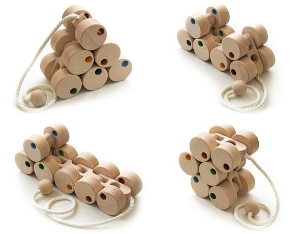 12 Wheel Car (Long Type) Wooden Toys (Ginga Kobo Toys) Japan