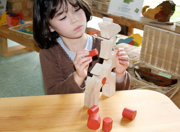 -Giraffe (basket with wooden toys) one 2-year-old 3-year-old-baby gifts baby toys boys girls ♦ GiraffeWooden Toys (Ginga Kobo Toys) Japan