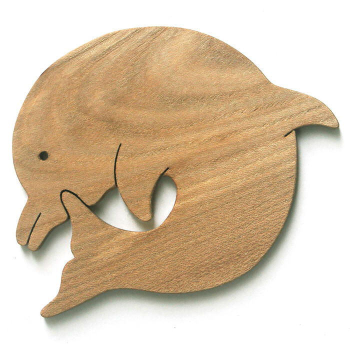 ♦ Dancing Dolphin coasters made of Japan Wood filled with playful toy building block type practical fit fun rather than 1-year-old 2 years 3 years 4 years 5 years birthday gift-baby boys girls domestic barrier-free woodworking craftsmen hand-made birthda