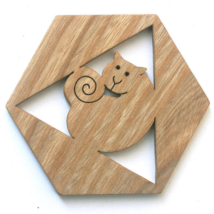 -Coaster-Japan Wood Hexagon cat's toy building block type Solitaire fun! design 1 year old 2 years 3 years 4 years 5 years birthday gift-baby boys girls domestic woodworking craftsmanship and use one Galaxy Studio ★ Ginga Kobo Toys P25Jun15
