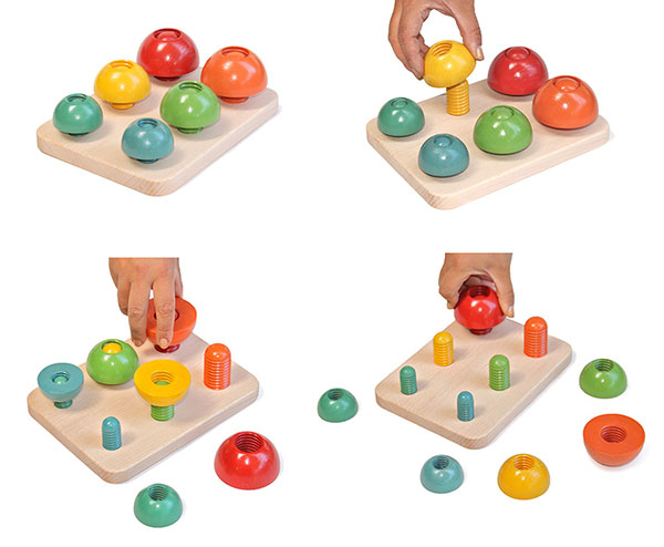 MUSHROOM MUSHROOMING UP AND DOWN Wooden Toys (Ginga Kobo Toys) Japan