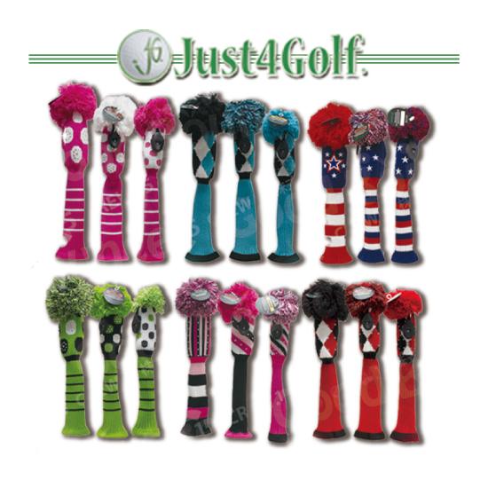 アメリカ女子ツアープロが愛用する老舗ブランドのジャスト4ゴルフ ポンポンニットヘッドカバー3本セット(ドライバー用、フェアウェイ用、ハイブリッド用) 送料無料