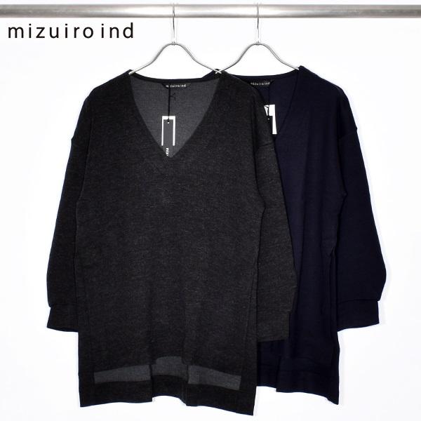 【SALE】【 mizuiro ind ミズイロインド 】 V neck tunic pull over Vネック チュニック プルオーバー 4-217923 made in japan 日本製