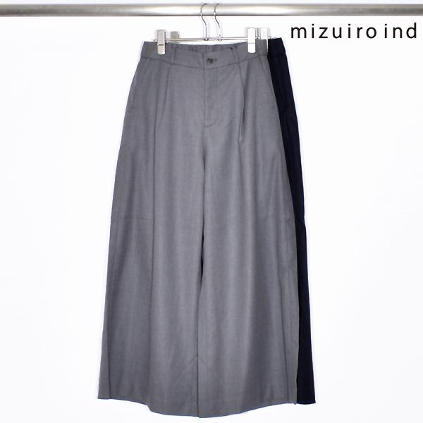 【SALE】【 mizuiro ind ミズイロインド 】 wide tucked pants ワイド タック パンツ 4-267906 made in japan 日本製