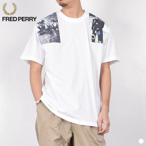 【 20SS 】【 フレッド ペリー × ラフ シモンズ 】 ショルダー プリント Tシャツ SM8131 【 FRED PERRY × RAF SIMONS 】 SHOULDER PRINT T-SHIRT メンズ レディース 男性 女性 男女兼用 ホワイト