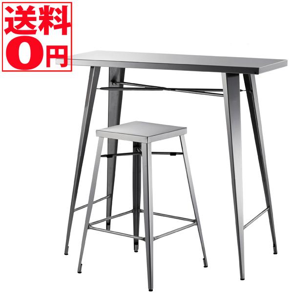 【送料無料】 ステンレスファニチャー カウンター2点セット カウンターテーブル&ハイスツール STN-336・STN-335