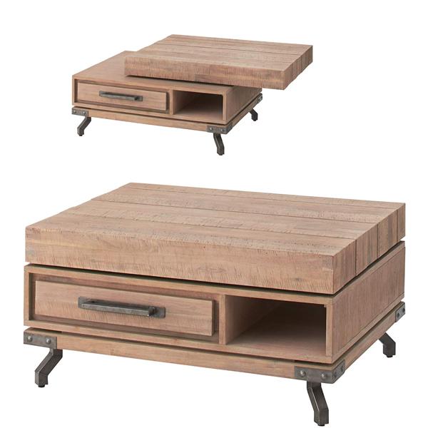 【別途実費追加送料】Living Table・リビングテーブル 回転テーブル 天然木(アカシア) VET-752
