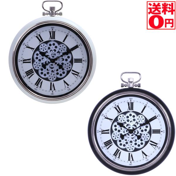 【送料無料】 掛時計 ギア L Φ52cm ブラック/クリーム 27222・27223