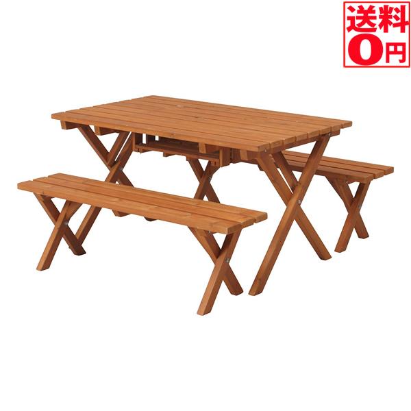入荷しました!【送料無料】 ガーデン用 杉材 BBQテーブル&ベンチセット BBQセット 81761