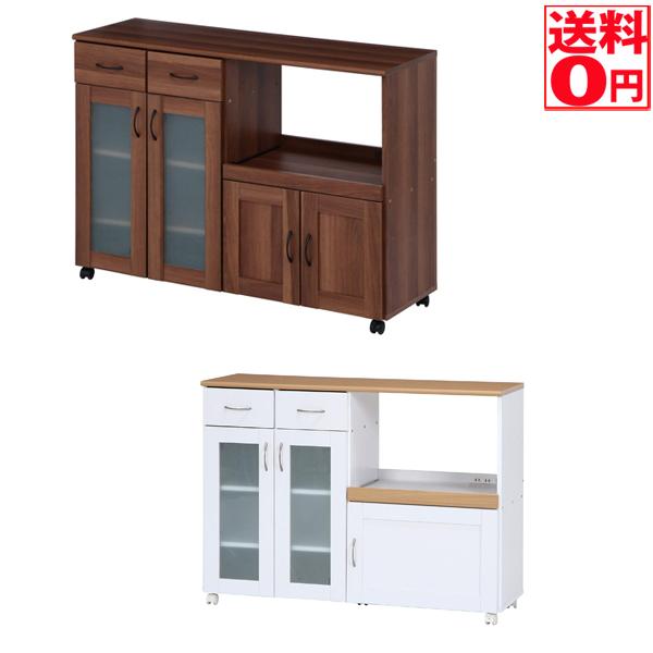 【送料無料】キッチンカウンター サージュ WH×NA/BR 120幅 96820/97346