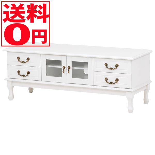 【送料無料】 Feminine Wood Furniture フェミニンシリーズ テレビ台 ホワイト(幅120cm) MTV-6347WH