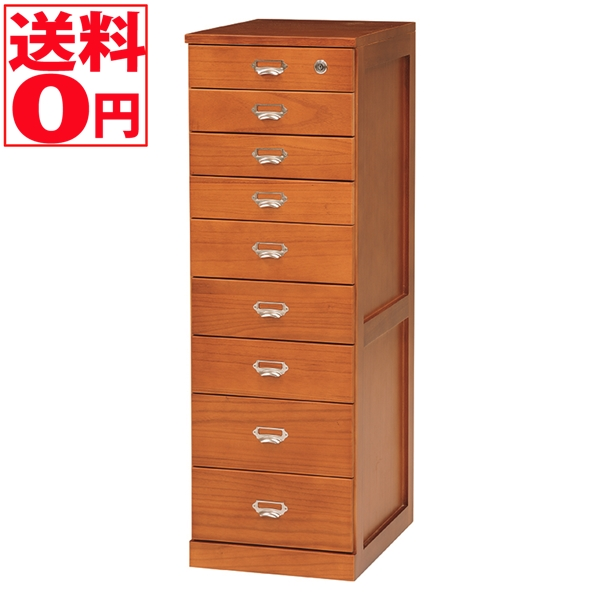 【送料無料】 天然木 整理仕分け用 タワーチェスト (幅33cm 9段) MCH-6585