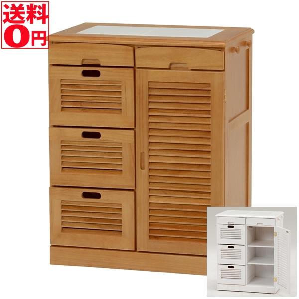 【送料無料】 キッチンカウンター mud-6817 WH/LBR