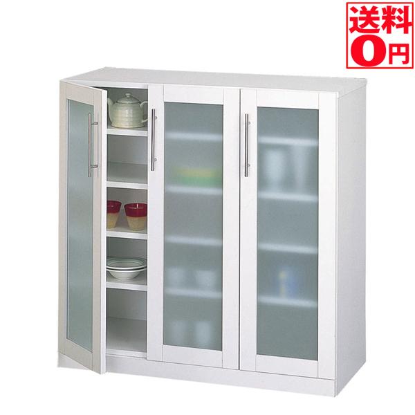 入荷しました!!【送料無料】カトレア食器棚90-90 ホワイト 23464