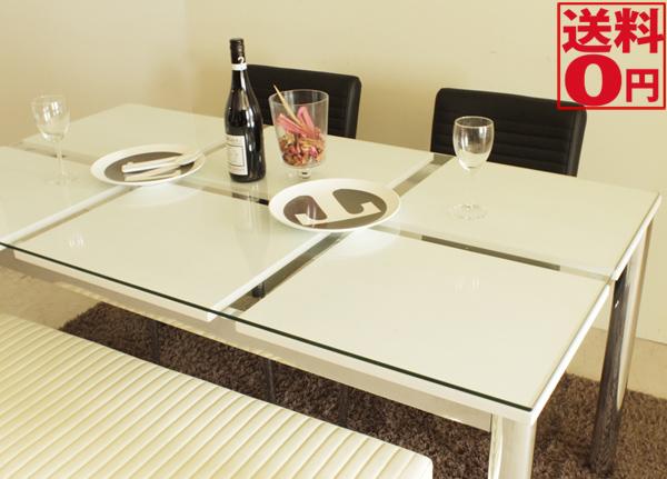 入荷しました!!【送料無料】 Nフレスコ ダイニングテーブル ガラス越し 幅150cm 3403130