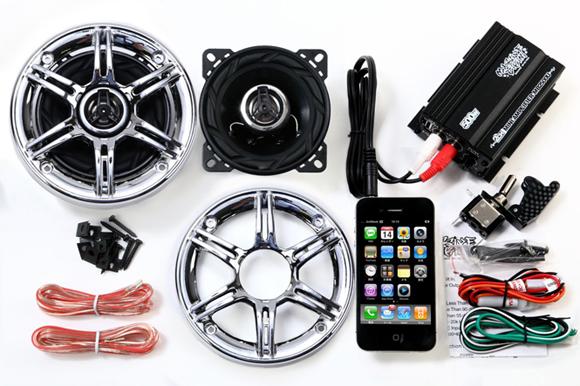 オーディオ アンプ スピーカー バイク マジェスティ フォルツァ フュージョン マグザム スカイウェーブ 原付 ディオ ジョグ 防水 300W メッキグリル 黒 iPhone スマホ USB 充電 2チャンネル MAX300W 小型 アンプ LED スイッチ付属 MB2500U_SP300_S