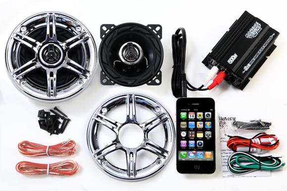 オーディオ アンプ スピーカー バイク マジェスティ フォルツァ フュージョン マグザム スカイウェーブ 原付 ディオ ジョグ 防水 300W メッキグリル 黒 iPhone スマホUSB 充電 2チャンネル MAX300W 小型 アンプ MB2500U_SP300