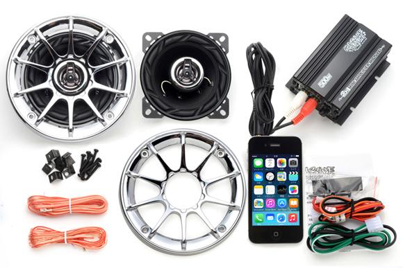 オーディオ アンプ スピーカー バイク マジェスティ フォルツァ フュージョン マグザム スカイウェーブ 原付 ディオ ジョグ 防水 300W メッキグリル 黒 iPhone スマホUSB 充電 2チャンネル MAX300W 小型 アンプ MB2500U_FIN300