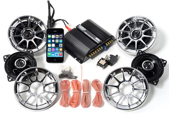 オーディオ アンプ スピーカー 4個 バイク マジェスティ フォルツァ フュージョン マグザム スカイウェーブ 原付 ディオ ジョグ 防水 300W メッキグリル 黒 iPhone スマホ 4チャンネル MAX500W 小型 アンプ LED スイッチ付属 MB4500_FIN300_S