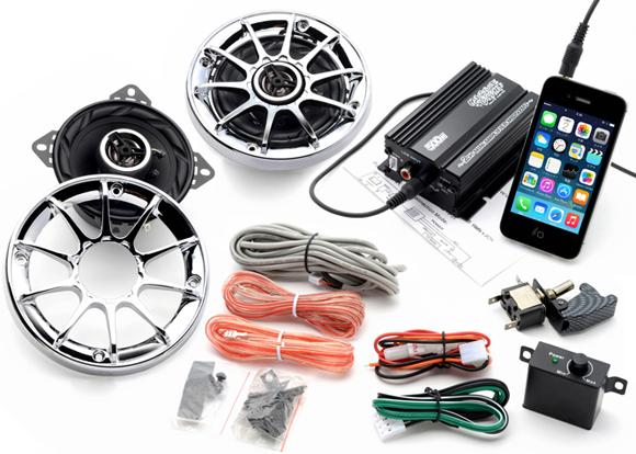 【送料無料】 バイク オーディオ アンプ スピーカー iPhone スマホ 対応 リモコン ボリュームコントロール メッキグリルF 300Wオーディオ マジェスティ フォルツァ フュージョン マグザム スカイウェーブ 原付 ディオ ジョグ
