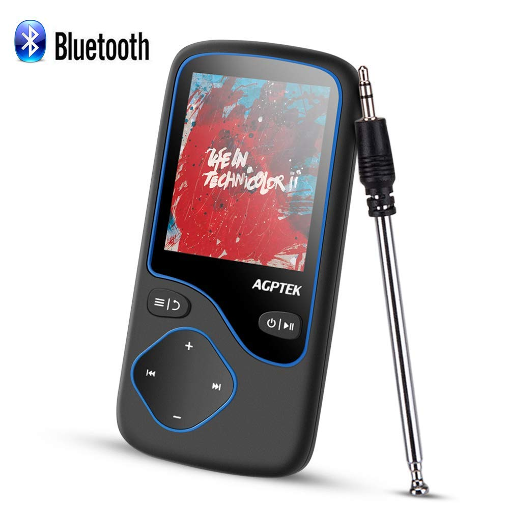 AGPTEK MP3 player Bluetooth deployment digital audio player 1 8 inches big  screen MP3 player HIFI high-quality sound super light weight mp3 player