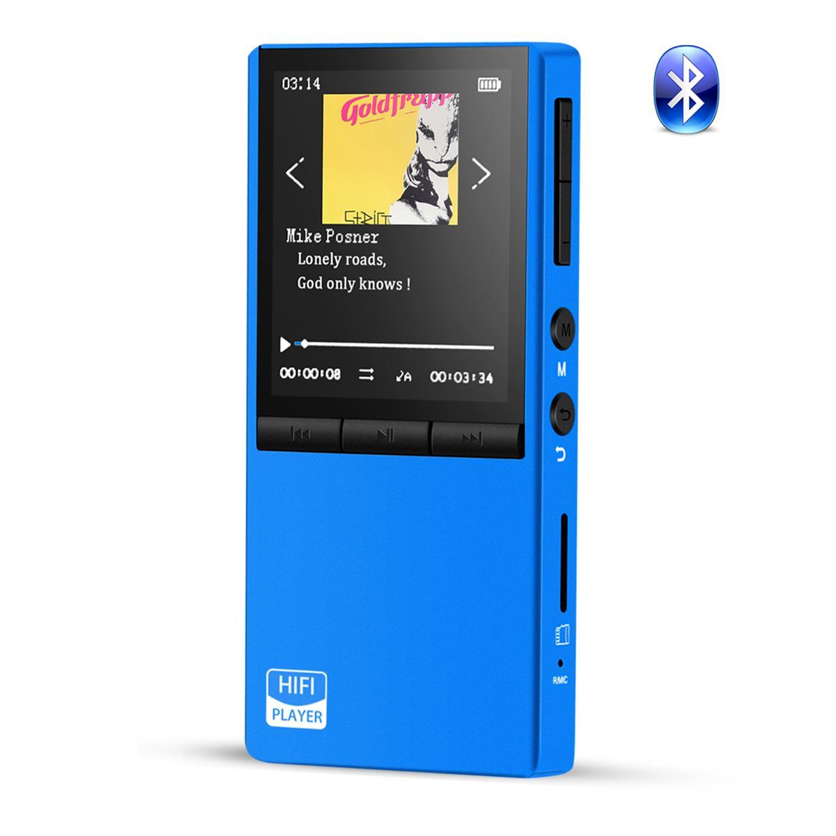 Bluetooth4.0 MP3プレーヤー 高音質 音楽プレーヤー 内蔵8GB マイクロSDカード128GBに対応 両耳イヤホンジャック付 ブルー HOMMIE