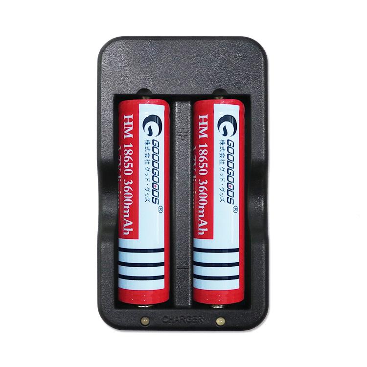【全国】18650 リチウムイオンバッテリー 充電池2本+充電器セット 二本同時充電可 Li-Ion リチウムイオン充電池 2本用充電池 マルチ充電器 18650型対応 家庭電源用 AC100-240V 18650充電器 収納ケースおまけ(CHG-2A)