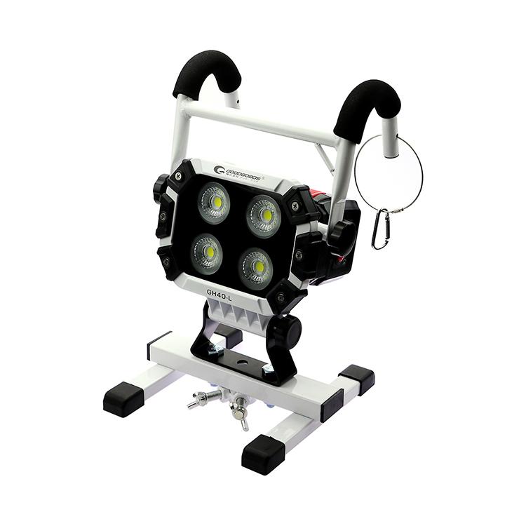 【全国送料無料】作業灯 led 充電式 40W 5600lm CREE COBチップ LED ワークライト 夜間作業 強力マグネット付き ポータブル 投光器 スタンド 屋外 照明 防水 LED ライト 充電式 ハンディライト 建設機械 現場工事 アウトドア 整備 防災グッズ(GH40-L)