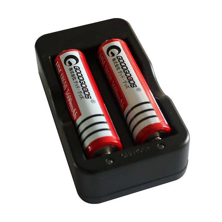 グッド・グッズ 指示ランプ2つ搭載!それぞれの充電状況が一目瞭然! 「0のつく日・10%OFFクーポン」18650 リチウムイオン充電池 充電器 4.2V 800mA 2本用 マルチ充電器 18650型対応 家庭電源用 AC100V-240V/ 50/60Hz兼用 家庭電源 指示ランプ2つ搭載 安全 PSE認証済み(CHG-2A)