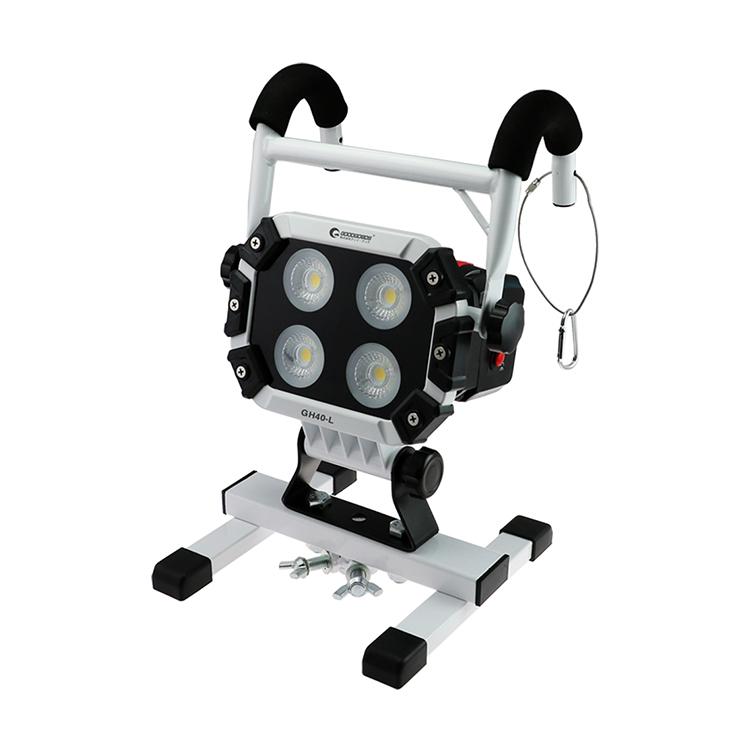 充電式 作業灯 投光器 led 40w 5600lm led 100V 防災グッズ COBチップ 強力マグネット付き カセット式バッテリー 花見 応急ライト 駐車場用 昼光色 防水 野球 IP65 広角120度 三脚対応(GH40-L)