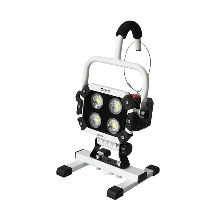 投光器 led 照明 充電式 40w 広角120度 5600lm 作業灯 ワークライト LED 100V 防災グッズ COBチップ 現場工事 倉庫 防水防塵 花見 投光 駐車場用 野球 備品 IP65 三脚対応 ランタン(GH40-S)