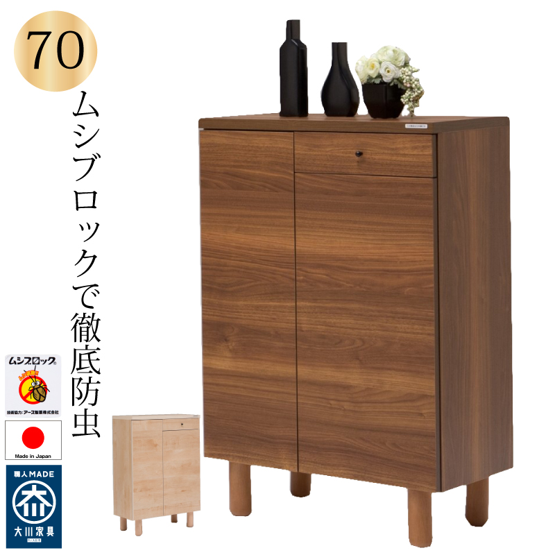 【送料無料(一部地域除く)】下駄箱 シューズボックス 靴箱 70 日本製 完成品 大川家具 木製 ロータイプ 防虫仕様 おしゃれ 玄関収納 開き扉 棚は取外し洗浄できます
