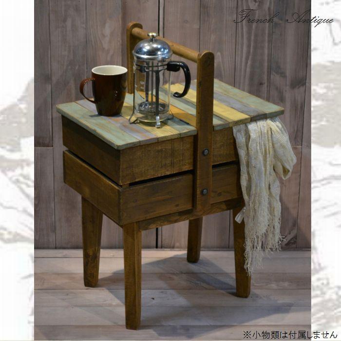 【送料無料】サイドテーブル 46 アンティーク カントリー 家具 雑貨 カントリー調 フレンチ おしゃれ 木製