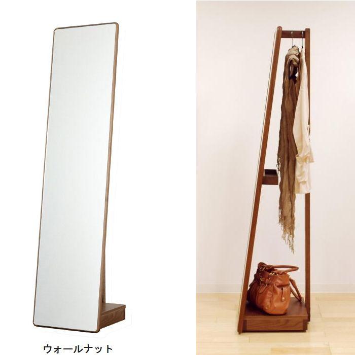【送料無料】スタンドミラー 全身鏡 姿見 キャスター付き 40 ハンガーラック ミラー 日本製 木製 7素材から選択 おしゃれ 小物入れ収納付き