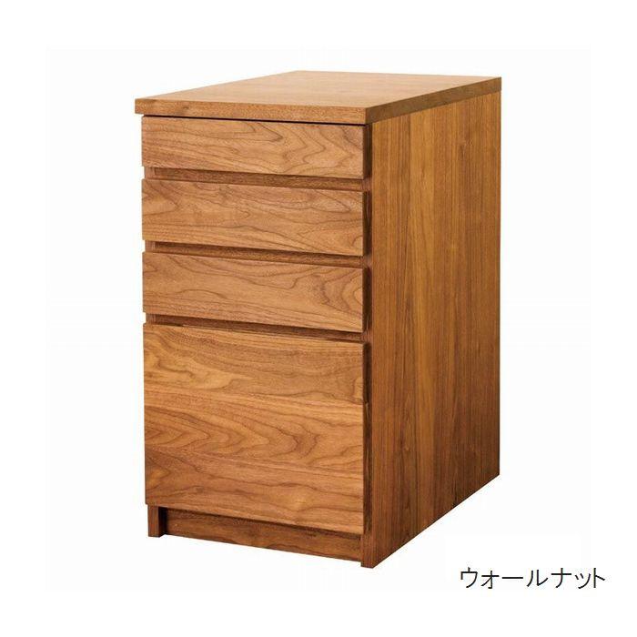 【送料無料(一部地域除く)】デスクワゴン おしゃれ キャスタなし 40 デスクサイドワゴン 日本製 完成品 木製 無垢 素材が選べる7素材 収納家具 収納 デスク収納 高級家具