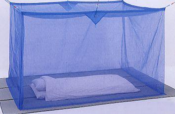 【送料無料】麻混素材 寝室用かや(片麻 ブルー)6畳サイズ●吊手&送料サービス♪●【代引/同梱/返品不可】