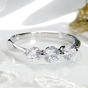 ジュエリー・アクセサリー・レディース・指輪・リング・プラチナ・ダイヤモンド・3石・0.7ct・エレガンス・トリプル・送料無料・刻印無料・品質保証書・ダイア ・大粒・プレゼント